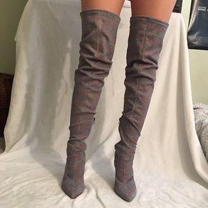 Plaid thigh high stretchy heels